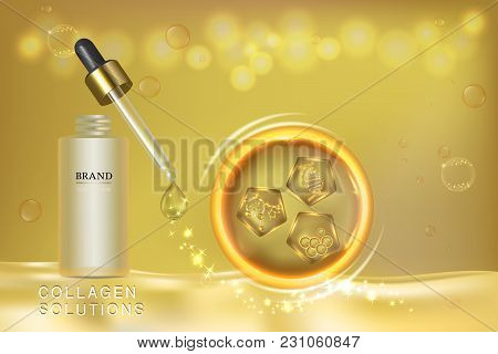 Gold Cosmetic Container With Advertising Background Ready To Use, Collagen Solution Skin Care Ad, Ve