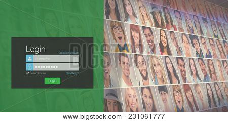 Close-up of login page against collage of portraits