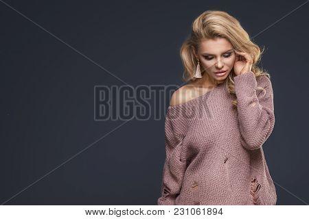 Sensual Woman In Fashionable Sweater.