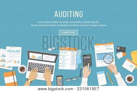 Accounting, Business Meeting, Auditing,  Calculation, Data Analysis, Reporting. People At Work. Huma
