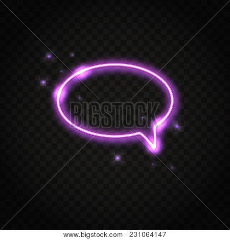 Neon Shiny Pink Oval Speech Bubble With Space For Text. Abstract Electric Light Frame Isolated On Da