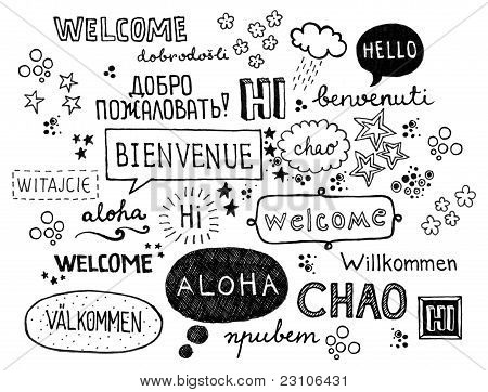 Word welcome written in different languages