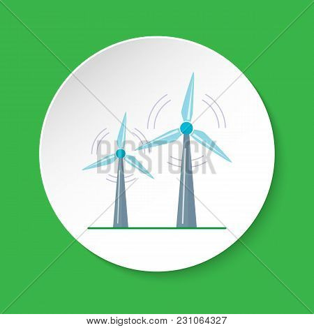Wind Turbine Icon In Flat Style On Round Button. Rotating Windmill Symbol Isolated On White. Alterna