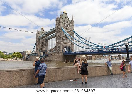 London, United Kingdom - June 22, 2017: Tower Bridge On The River Thames. The Bridge Is A Symbol Of