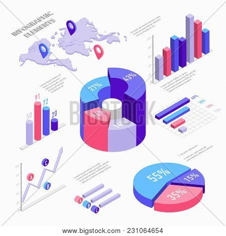 Isometric Infographic Elements With Charts, Diagram, Pie Chart, World Map With Pins And Graphs With