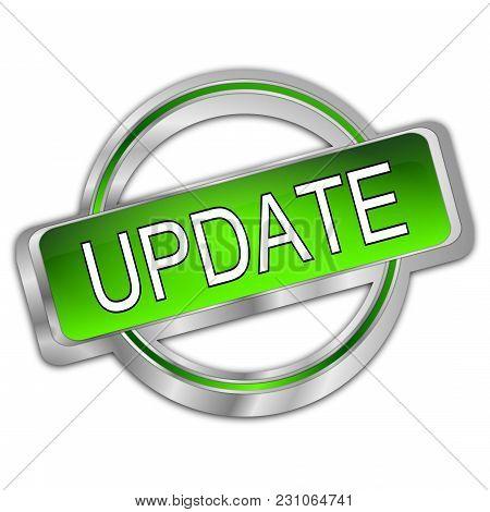 Silver Green Update Button - 3d Illustration