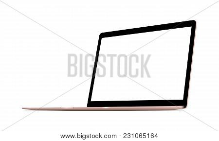 Laptop Computer Pink Mock Up - 34 Right Perspective View. Vector Illustration