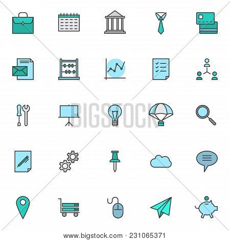 Business Universal Filled Outline Icons Set, Line Vector Symbol Collection, Linear Colorful Pictogra