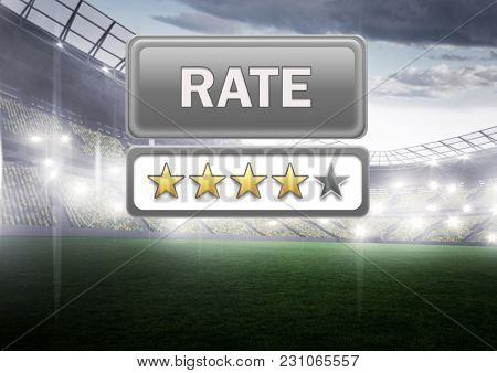 Digital composite of Rate button and star reviews with sports stadium pitch