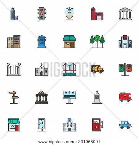 City Filled Outline Icons Set, Line Vector Symbol Collection, Linear Colorful Pictogram Pack. Signs,