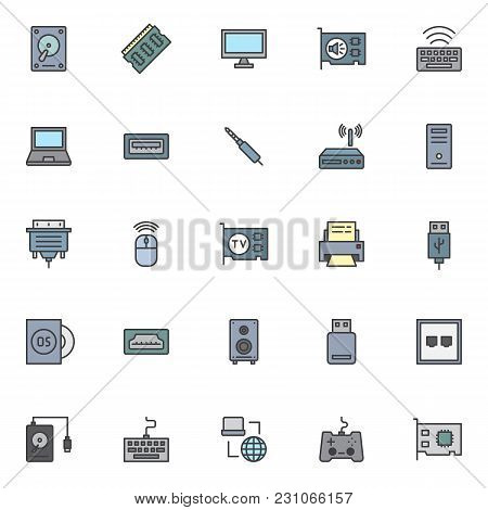 Computer Components Filled Outline Icons Set, Line Vector Symbol Collection, Linear Colorful Pictogr