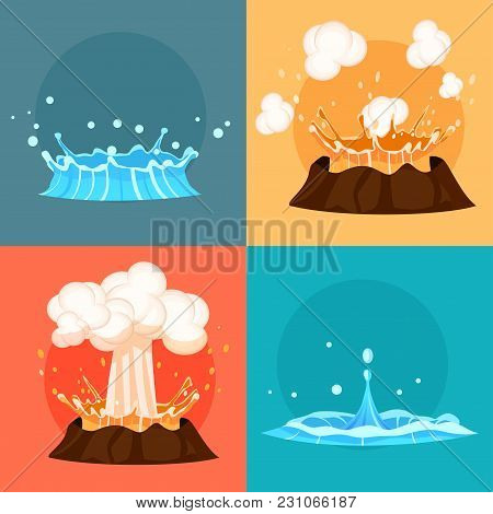 Concept Of Blue Geyser And Red-hot Volcano Four Icons. Magma Nature Blowing Up With Lava Flowing Dow
