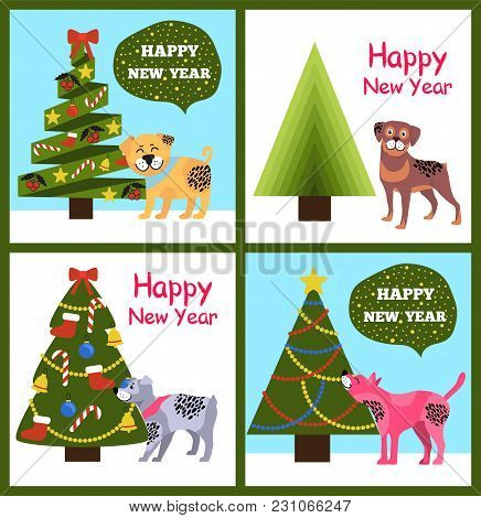 Happy New Year Posters With Congratulations From Cartoon Dogs And Abstract Xmas Trees Vector Illustr