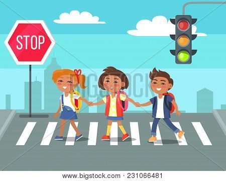 Children Crossing Road Against City Skyline Background. Cartoon Style Vector Illustration Of Boys An