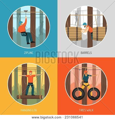 Ropes Course Outdoor Adventure Concept 4 Flat Icons With Zip Line Tour And Tires Walking Vector Illu