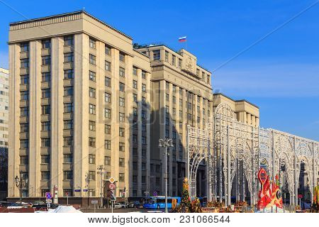 Moscow, Russia - February 14, 2018: Building Of State Duma Of Russian Federation On A Blue Sky Backg