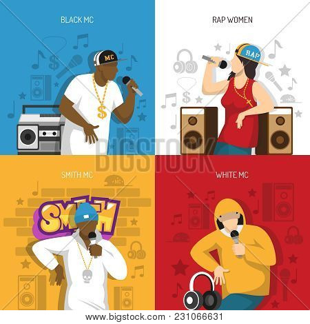 Rap Music Popular Singers Performance 4 Flat Colorful Background Icons Square With Black Mc Rapper V