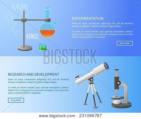 Experimentation Research And Development Web Banner With Modern Refractor Telescope And Metal Retort