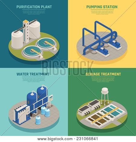 Water Cleaning Systems 4 Isometric Icons Square With Purification Plant And Sewage Treatment Backgro