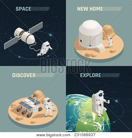 Space Research Exploration Discoveries 4 Isometric Icons Square With Astronaut Landing On Alien Plan