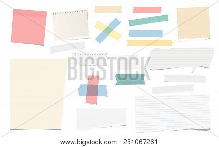 Colorful And White Adhesive, Sticky, Masking, Duct Tape Pieces Torn Note, Notebook Paper For Text Ar