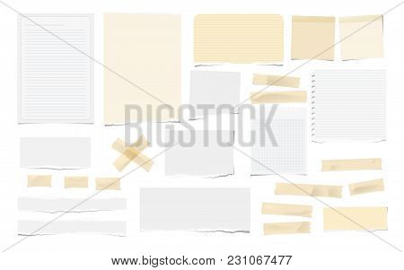 Brown Adhesive, Sticky, Masking, Duct Tape Pieces, White Torn Note, Notebook Paper For Text Are Isol