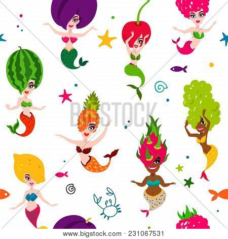 Vector Sea Pattern Of Beautiful Mermaids On A White Background. Excellent Print For Fabric And Desig