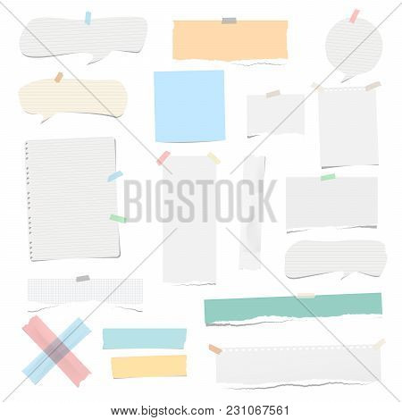 Colorful And White Adhesive, Sticky, Masking, Duct Tape Pieces Torn Note, Notebook Paper, Speech Bub