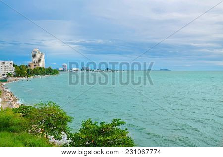 Tropical Beach And Blue Sky In Sunny Day
