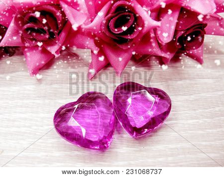 Crystal Gem Hearts Roses Bouquet Valentine's Day Love Holiday Concept Background