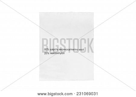 Content Clothes Label In English And Russian Languages On White Background