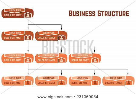 Orange Business Structure Concept, Corporate Organization Chart Scheme With People Icons. Vector Ill