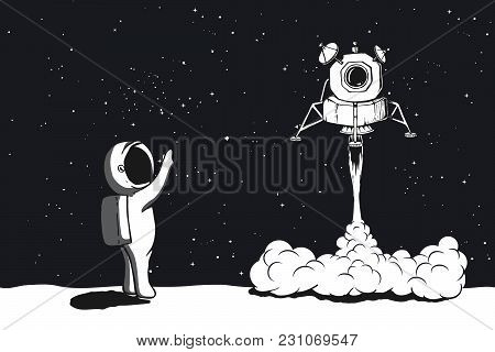 Lunar Module Launch, Landing On Moon.astronaut Welcomes Their.space Vector Illustration