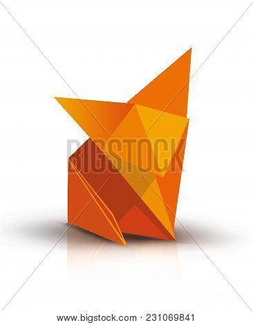 Origami. Origami Fox. Orange Origami Fox. Orange Paper Origami Fox. Paper Fox. Vector Illustration E