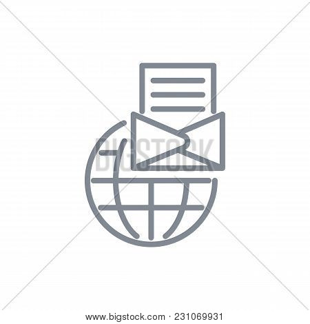 Infographic Element Of Globe And Letter On Foreground Grey Color, Sign Of International Communicatio