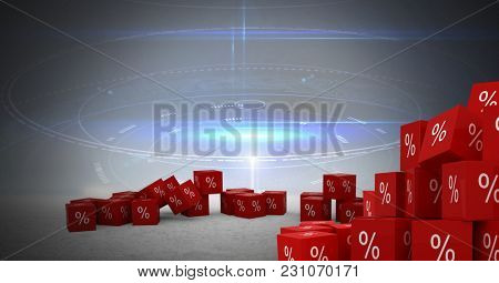 Digital composite of percent symbol icons with vague technology background