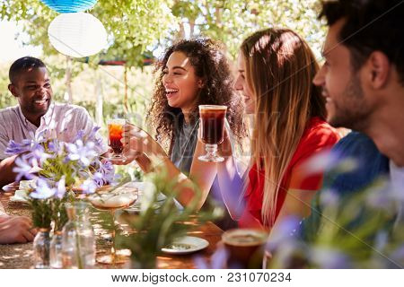 Young adult friends socialising at a table in a garden poster