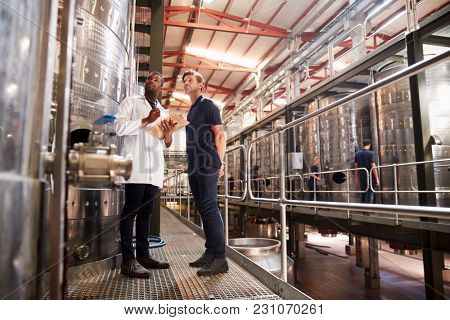 Two male technicians working at a wine factory, low angle
