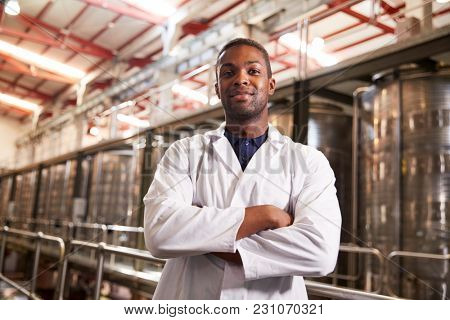 Portrait of a young black male technician at a wine factory