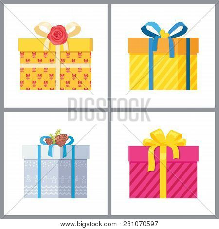 Set Of Gift Boxes In Decorative Wrapping With Color Ribbons And Bows Flowers Isolated On White Backg