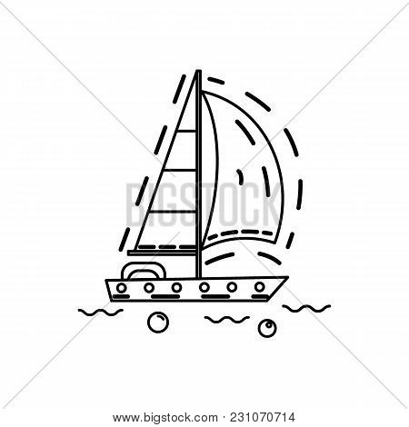 Sailing Ship In Thin Line Stile Isolated On White. Vector. For Yacht Club, Travel Agency, Broshure.
