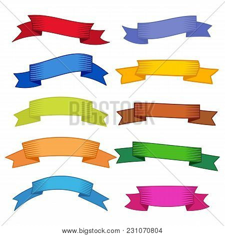 Set Of Ten Multicolor Ribbons And Banners For Web Design. Great Design Element Isolated On White Bac