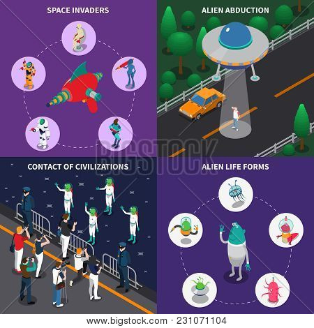 Various Alien Characters Coming In To Contact With People 2x2 Colorful Isometric Icons Set 3d Isolat