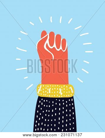 Vector Cartoon Funny Colorful Raised Up Male Fist. Symbol Of Demonstration, Revolution, Protest, Res