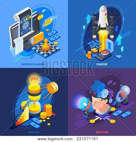 Startup Entrepreneurship Business Plan Solutions Concept 4 Isometric Icons Square With Achieving Suc
