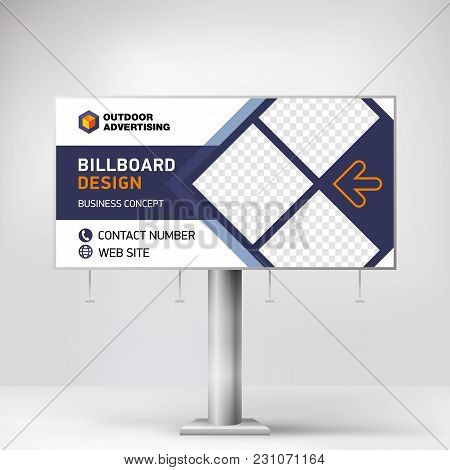 Billboard Banner, Modern Design For Outdoor Advertising, Template For Posting Photos And Text, Graph