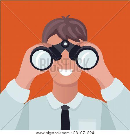Vector Cartoon Illustration Of Business Vision Concept. Man Looking Through Binoculars