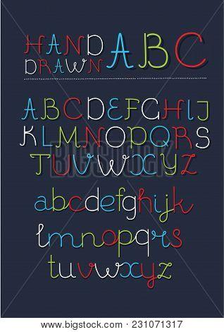 Vector Cartoon Neon Font Thin Handwritten Script. Modern Calligraphy Hand Drawn Typeface. Simple One