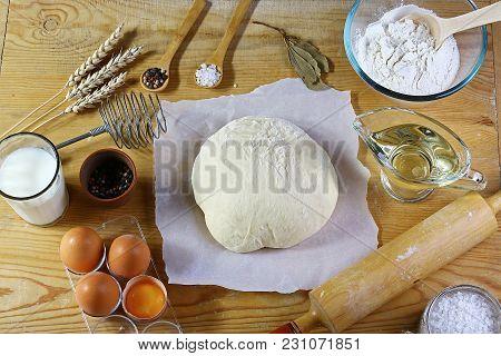 Dough Preparation Recipe Bread, Pizza Making Ingridients, Milk, Yeast, Flour, Eggs, Oil, Salt, Sugar