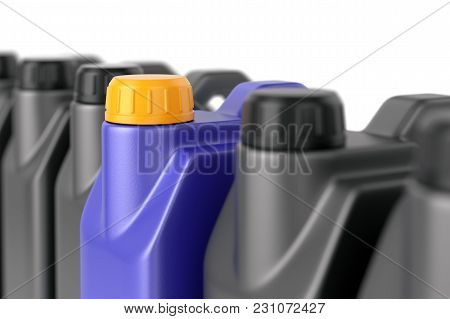 Unique Motor Oil Plastic Jerry Can Among A Group Of Ordinary Ones. Business Leadership, Uniqueness A